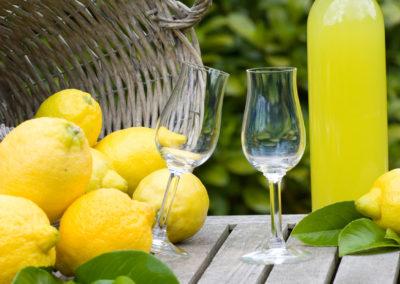 Basket with lemons and limoncello